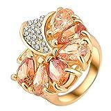 """RI06018 """"Beauty Escort"""" Austrian Crystal 18K Ring"""