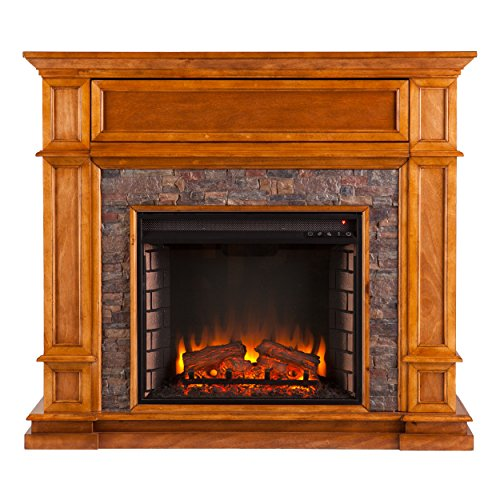 Southern Enterprises, Inc. AMZ3339EF Media Electric Fireplace Mission Stone Fireplace