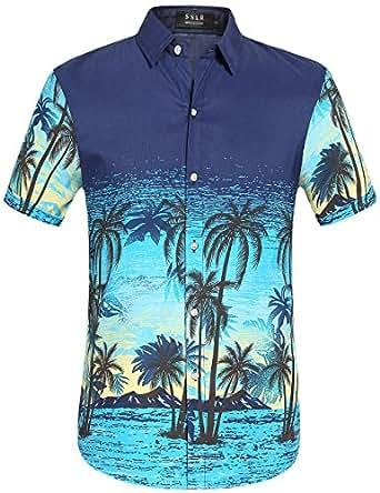 103ce384954a0 SSLR Camisa Hawaiana Aloha Hombre Manga Corta Casual Estampado para  Vacaciones (Small