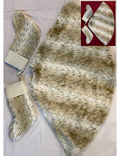 Pottery Barn Faux Fur Christmas Tree Skirt with matching 2 PCS Stockings