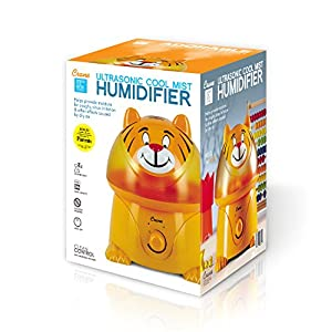 Crane USA Humidifiers - Tiger Adorable Ultrasonic Cool Mist Humidifier - 1 Gallon Adjustable Mist Output, Automatic Shut-off, Whisper-Quiet Operation for Home Bedroom Office Kids and Baby Nursery