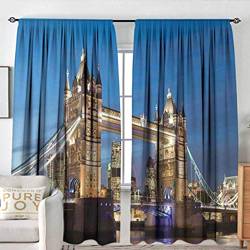 (Petpany Blackout Curtains London,Scenery of Landmark Tower Bridge at Twilight with Skyscrapers England UK Image,Blue and Ivory,for Bedroom,Nursery,Living Room 84