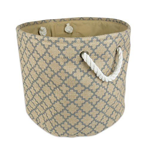 DII Collapsible Burlap Storage Basket or Bin with Durable Cotton Handles, Home Organizational Solution for Office, Bedroom, Closet, Toys, & Laundry (Large Round - 16x15
