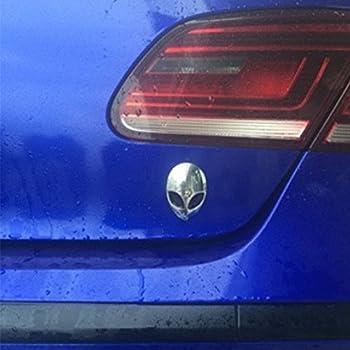 1 Piece Full Metal 3D Alien Head Sticker Green Badge Emblem Auto Car Decals