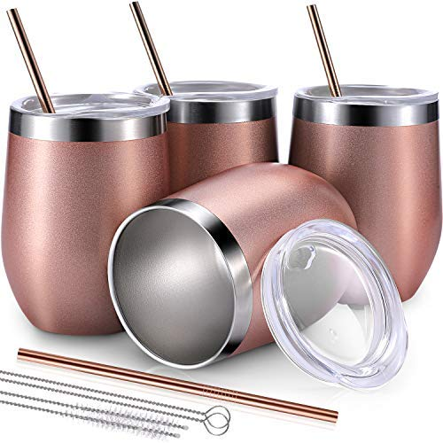 BBTO 4 Sets 12 oz Double Wall Insulated Wine Tumbler, Stainless Steel Stemless Wine Glass for Drinks, Coffee, Champagne, Including 4 Packs Straws and 4 Packs Brushes (Rose Gold) [並行輸入品] B07QCXYFHS