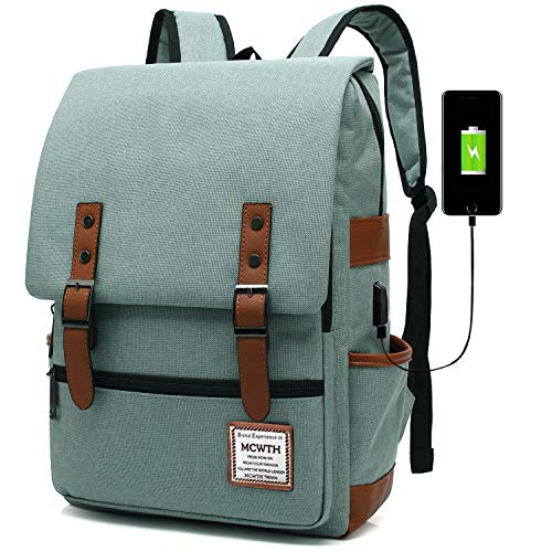 Travel Laptop Backpack, MCWTH Business Slim Durable Tablet Backpack with USB Charging Port,Water Resistant College Student School Computer Bag for Women Men Fits 15.6 Inch Laptop and Notebook Green