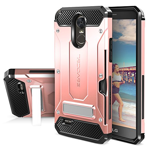 LG G Stylo 3 Case, Evocel [Explorer Series Pro] Premium Dual Layer Protector with Credit Card Slot and Metal Magnetic Kickstand for LG G Stylo 3 (2017 Release), Rose Gold (EVO-LGSTYLO3-CK25)