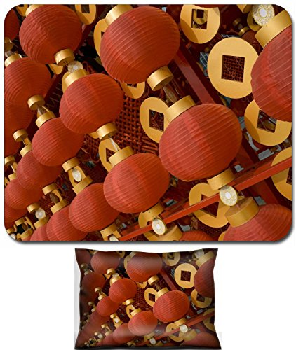 Luxlady Mouse Wrist Rest and Small Mousepad Set, 2pc Wrist Support design IMAGE: 17724847 The traditional red lanterns decorating the Chinese New Year -