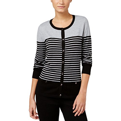 Karen Scott Womens Colorblock Striped Cardigan Sweater Black L