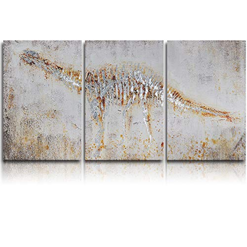 3 Panel Canvas Wall Art Artistic Yellow Dinosaur Bone Fossils Pictures Home Wall Decorations for Bedroom Living Room Oil Paintings Canvas Prints Framed 16