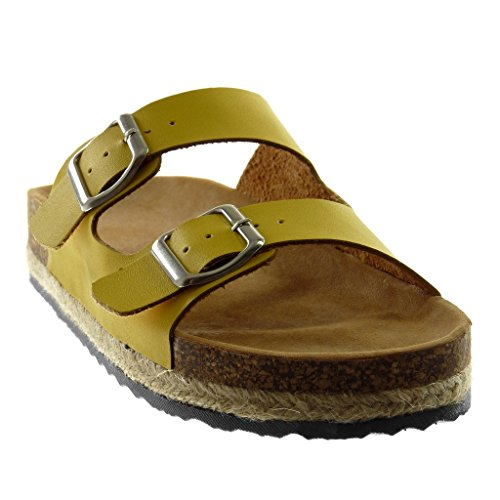 Angkorly Women's Fashion Shoes Mules Sandals - Slip-on - Cork - Buckle - Cord Wedge Platform 3.5 cm Yellow bh11QkvIFl