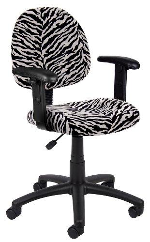 Boss Deluxe Posture Chair (Boss Zebra Print Microfiber Deluxe Posture Chair W/ Adjustable Arms.)