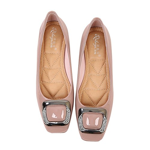 T-JULY Womens Buckle Slip On Loafer Casual Flats Square Toe Shoes Moccasins Comfort Boat Dress Shoes Pink pHfNV