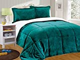 Alternative Comforter - Chezmoi Collection 3-piece Micromink Sherpa Reversible Down Alternative Comforter Set (King, Teal)
