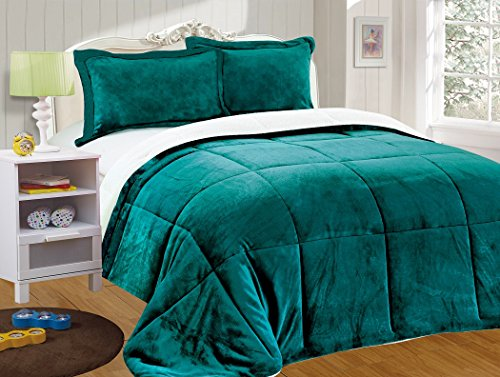 Chezmoi collection 3-piece Micromink Sherpa relatively easy to fix lower many other Comforter Set (King, Teal)