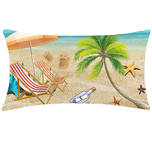 NIDITW Nice Gift Summer Holiday Sling Chair Palm Plant Leaves Wishing Bottle Starfish Waist Lumbar Beige Cotton Linen Throw pillow case Cushion cover for Sofa home decorative Oblong 12x20 Inches -