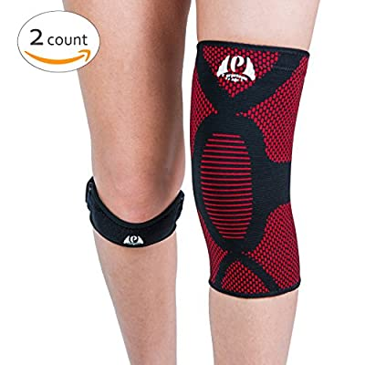 Perpetuum Sports Bundle|1 Knee Compression Sleeve Support & 1 Knee Patella Strap | for Sports, Joint Pain Relief, Arthritis, Recovery and More!