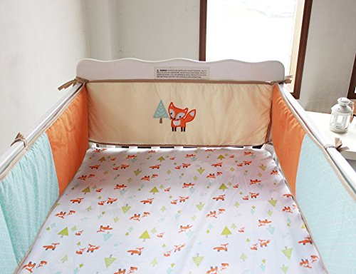 NAUGHTYBOSS Unisex Baby Bedding Set Cotton 3D Embroidery Prairie Fox Quilt Bumper Bedskirt Fitted Blanket 8 Pieces Color Matching by NAUGHTYBOSS (Image #7)