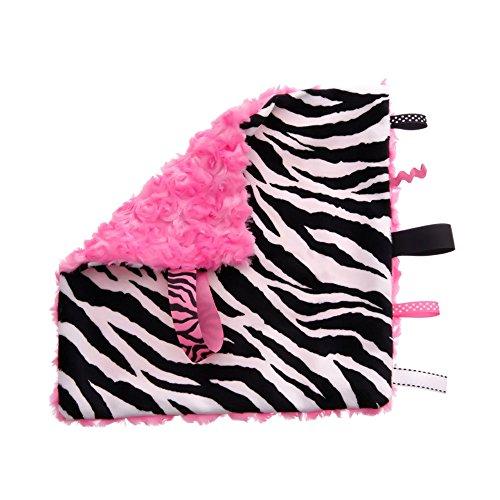 BBEmerald Baby Pacifier Taggie Blanket, Pink Zebra