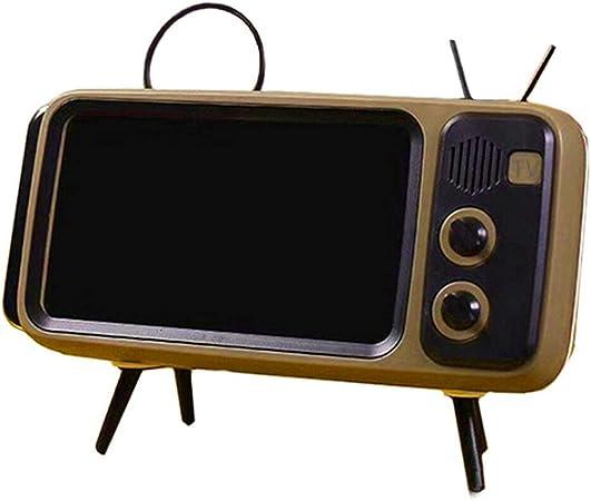 Taloit Mini Altavoz, Soporte para teléfono móvil, Altavoz Retro TV Soporte para Pantalla de teléfono móvil Altavoces de Audio portátiles inalámbricos: Amazon.es: Hogar