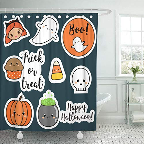Ladble Waterproof Shower Curtain Curtains Halloween Patches Badges Cute Pumpkin Ghosts Kids Holiday Symbols in Kawaii for Children Party 72