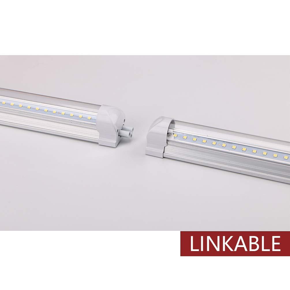 Kihung 4ft led shop light fixture40w 5000 lumens 4000k daylight whitehigh output tube light v shape t8 integrated 4 foot led bulbs for cooler
