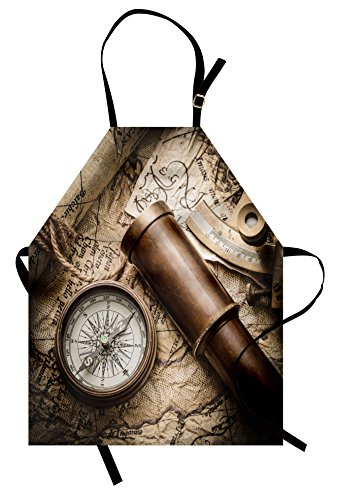 Lunarable Compass Apron, Vintage Still Life with Compass Sextant Spyglass Old Map Marine Life Artwork Print, Unisex Kitchen Bib Apron with Adjustable Neck for Cooking Baking Gardening, Brown Beige]()