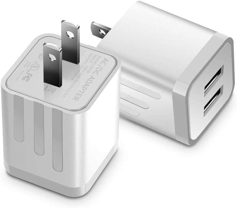 USB Wall Charger, Loxdn 2-Pack Dual Port USB Wall Plug Charging Block Adapter Charge Cube Brick Box Compatible with Phone 11 /Pro Max, XR/XS/X 8/7/6 Plus, Samsung, LG, Moto, Android Phone (White)