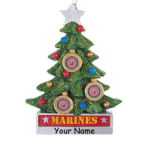 Kurt Adler Personalized USMC United States Marine Corps Hanging Christmas Ornament Glittered Christmas Tree Decoration with Custom - United Marine Personalized States