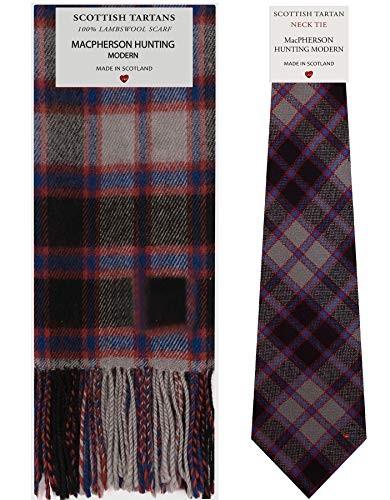 MacPherson Hunting Modern Tartan Plaid 100% Lambswool Scarf & Tie Gift Set