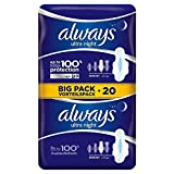 Always Ultra Night Sanitary Towels with Wings 20 per pack (PACK OF 6)