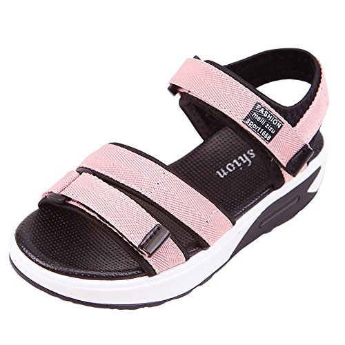 YING LAN Girl's Boy's Summer Canvas Sports Sandals Open Toe Velcro Athletic Beach Shoes (Little Kid/Big Kid) Pink