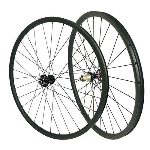 - LOLTRA Carbon MTB Wheels 29 Inches Diameter 28mm Width 22mm Depth Clincher Tubuless Hookess Mountain wheelset with Mac Aero CN 424 Spokes(15x100mm Thru Axle, 12x142mm Thru Axle)