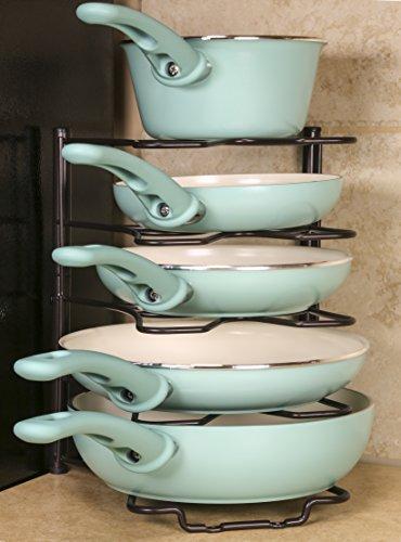 (Bronze) Kitchen Storage Solutions Cabinet Pan Rack Organizer ...