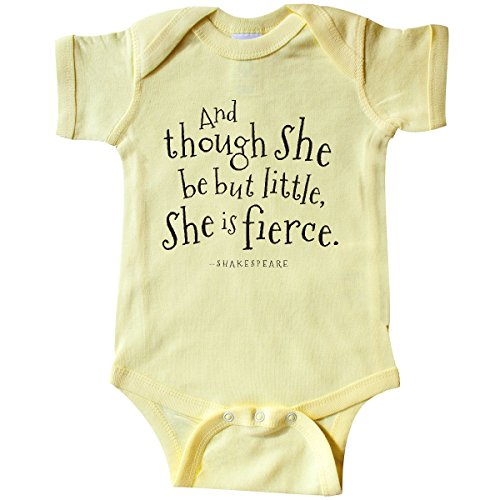 inktastic - Though She Be But Little Infant Creeper Newborn Banana Yellow 1fac6 -