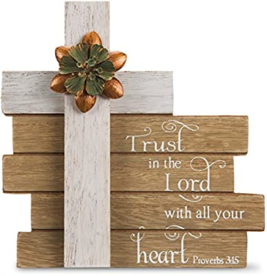 Pavilion Gift Company Simple Spirits - Trust In The Lord with All Your Heart ~ Proverbs 3:5 Cross Plaque 6 Inch, Solid, Gray