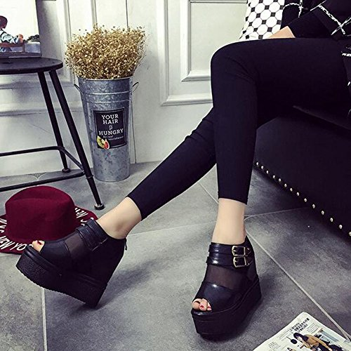 ANDAY Women's PU Leather Mesh Peep-Toe Summer Sandals Flatform Shoes Black k3tjZ