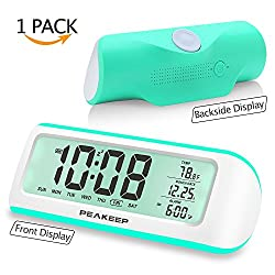 PEAKEEP Nature Sounds Battery Digital Alarm Clock with Temporary Backlight, Rotary Knob for Ease Set(White with Teal)