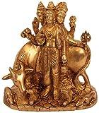 Kapasi Handicrafts Brass Lord Guru Dattatreya Idol Statues (LxBXH) (15.24 x 8.89 x 13.97 cms, Gold)