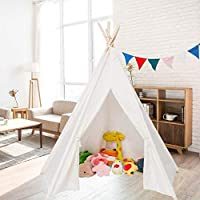 JOYMOR Extra Large Space 5 Poles Teepee Upgraded 6ft Foldable 100% Cotton Canvas Indoor Tent Indian Playhouse for Kids Play with Banner,Carry Bag,Window,Pocket