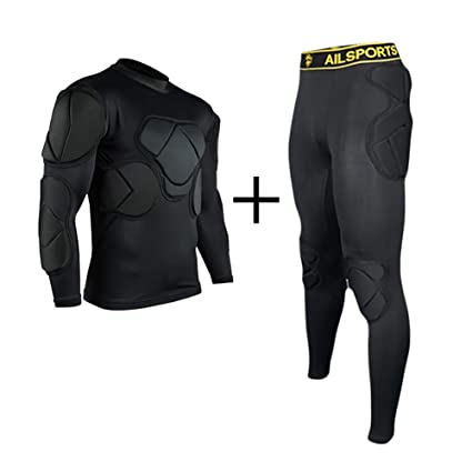 6e496961c TOPWISE Body Safe Guard Padded Compression Shirts, Long Sleeve Shoulder Rib  Chest Protector Suit for