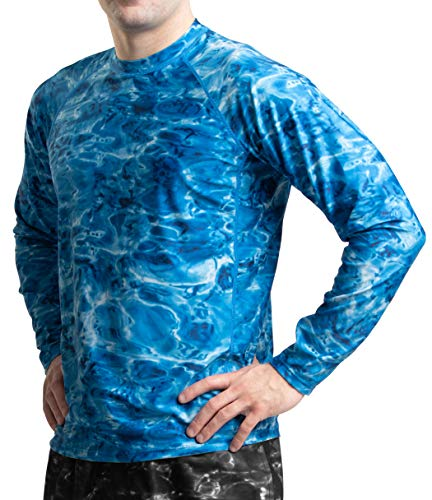 Aqua Design Rash Guard Men: Swim Shirts for Mens UV Long Sleeve Rashguard: Royal Ripple: Size 2XL