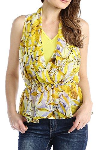 Chelsea Apparel - Junior Leaf Print Halter Top, Yellow, S