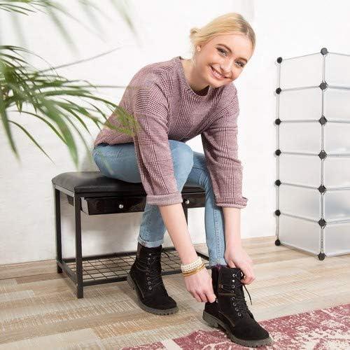 42 x 67 x 43.5 cm 2 Schubladen Schuhablage schwarz Schuhbank Design Relaxdays Sitzbank Kunstleder Gaderobenbank gepolsterte HBT: 43,5 x 67 x 43 cm