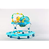 GoodLuck Baybee - Stylish Round Baby Musical Walker with 3 Position Height Adjustable Kids Walker for Babies/Childs (Blue)