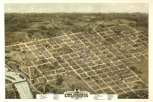 Columbia 1872 Capital in the U.S. state of South Carolina Map Bird Eye View Travel Tourism 26