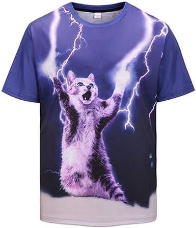 Camisa de compresión para Hombre Camiseta de Manga Corta para Hombre, con impresión Digital, Gato Demon Lightning, para Hombre: Amazon.es: Ropa y accesorios