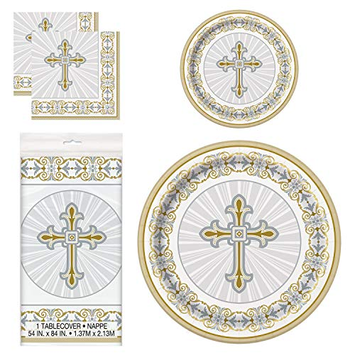 Unique Gold & Silver Radiant Cross Party Bundle | Luncheon & Beverage Napkins, Dinner & Dessert Plates, Table Cover | Great for Church and Religious Events -