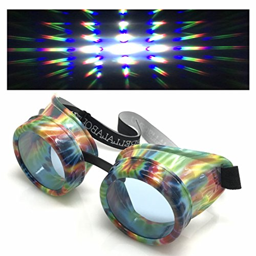 Steampunk Goggles Retro Round Rave Glasses, Rainbow Frame, neon Pastel Diffraction Lenses ()