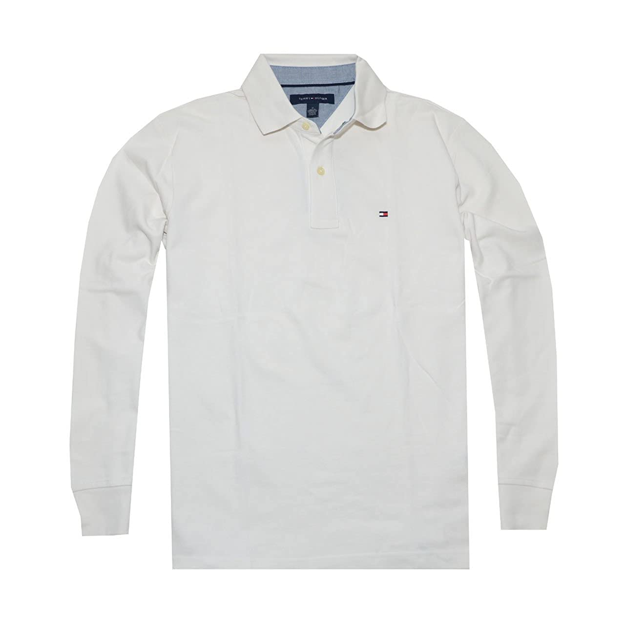 9880b1ec2 Amazon.com: Tommy Hilfiger Men Classic Long Sleeve Logo Polo T-shirt (S,  Off white): Clothing